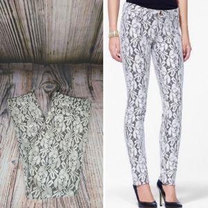 Cache Metallic Lace Overlay Skinny Pants Size 10